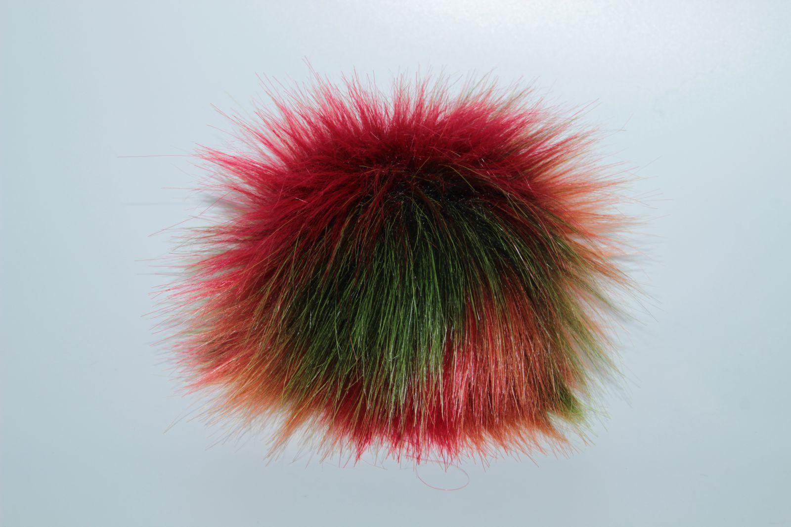 Bambule umělá kožešina 8cm s poutkem a kroužkem oranžovo-zeleno-červená