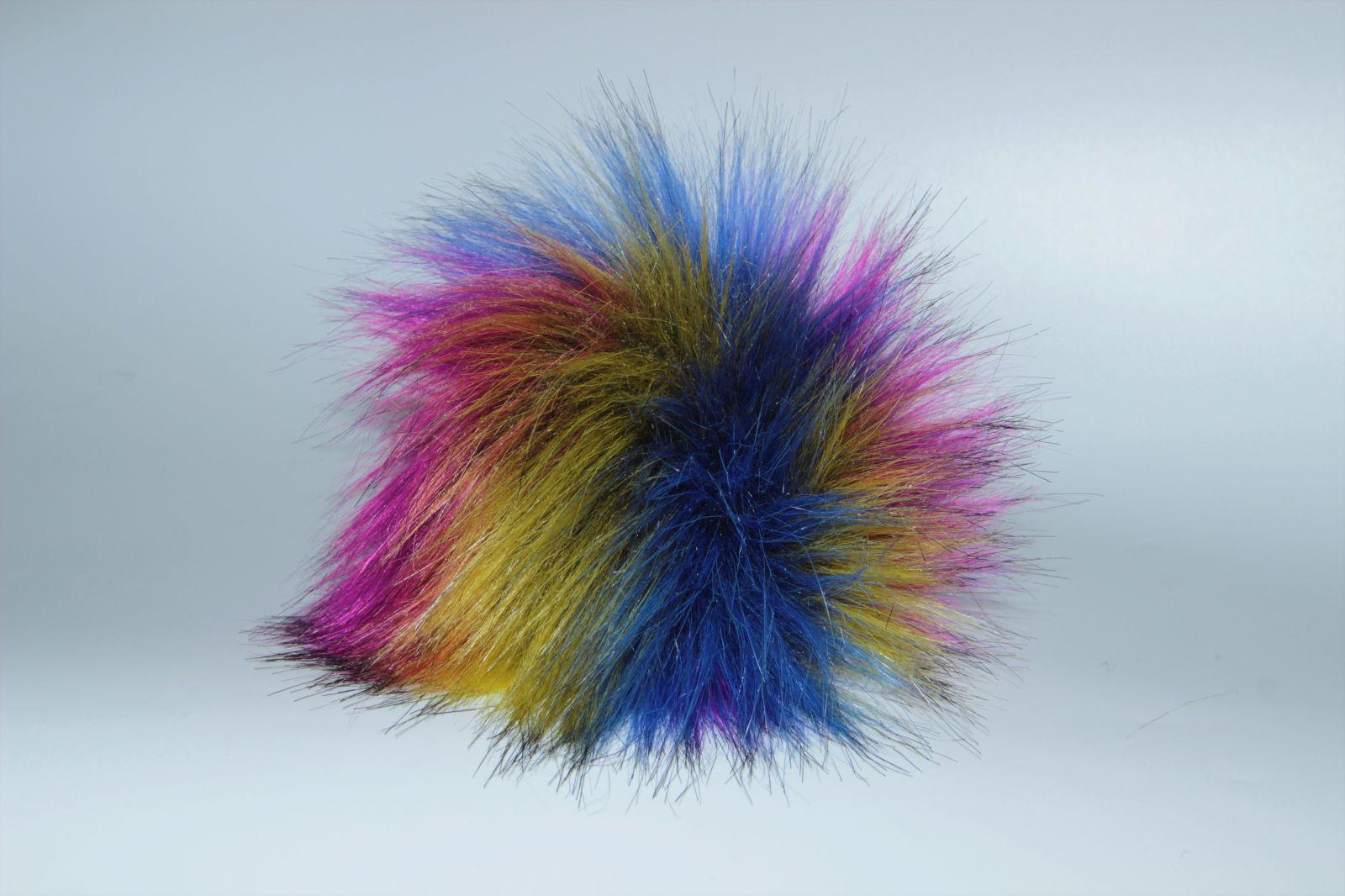 Bambule umělá kožešina 8cm s poutkem a kroužkem žluto-modro-růžová