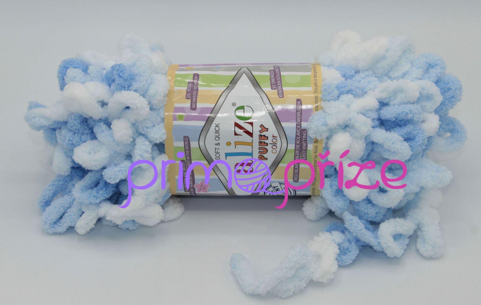 ALIZE Puffy Color 5865 modro-bílá