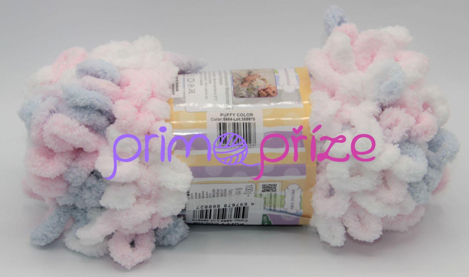 ALIZE Puffy Color 5864 bílo-šedo-růžová