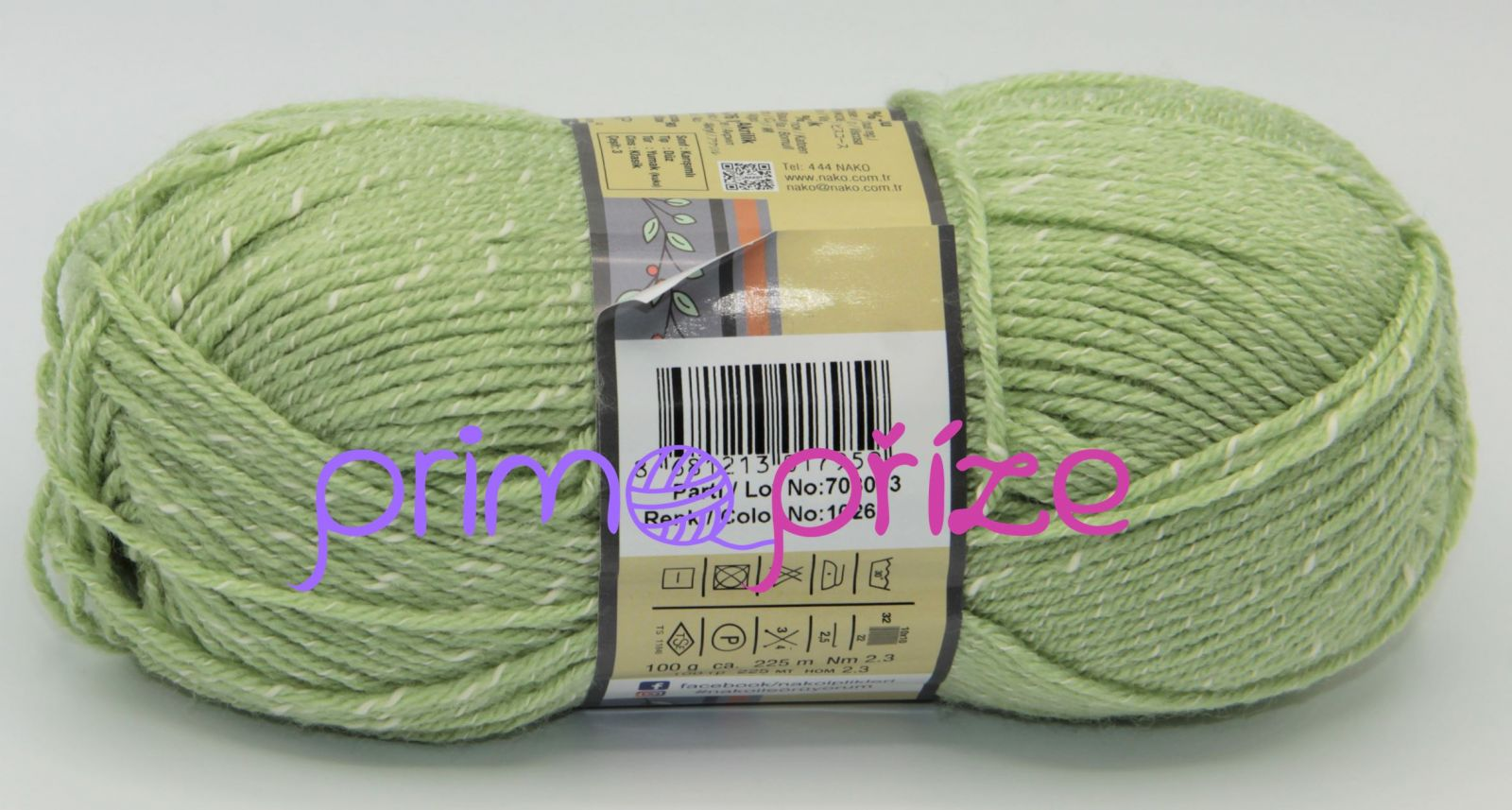 NAKO Natural Bebe 10262 zelenkavá s bílou