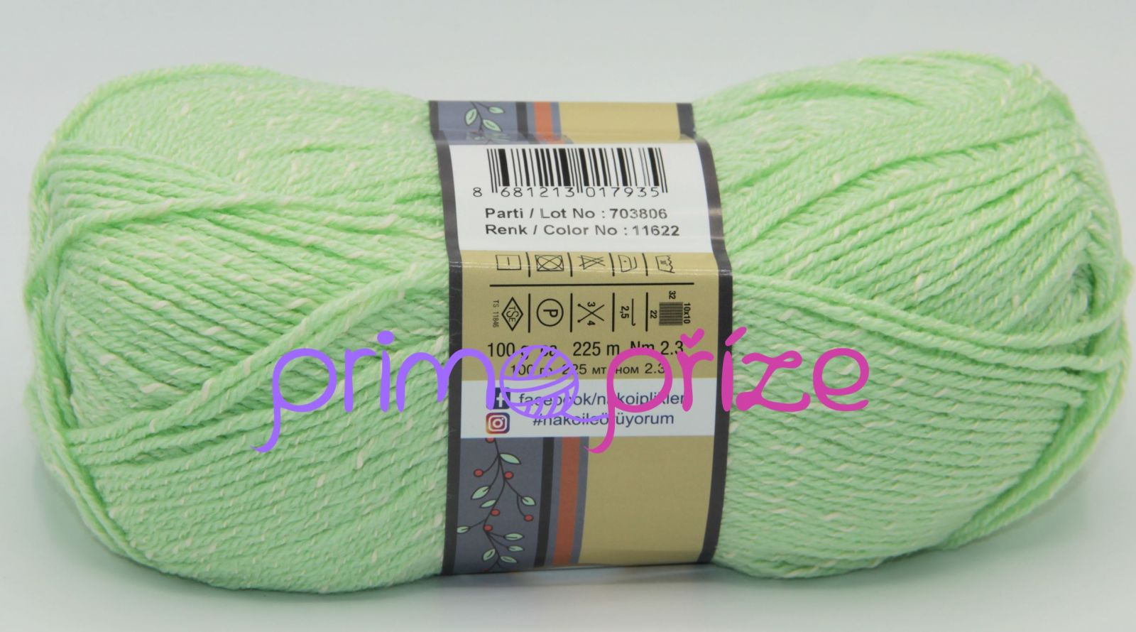 NAKO Natural Bebe 11622 zelenkavá s bílou