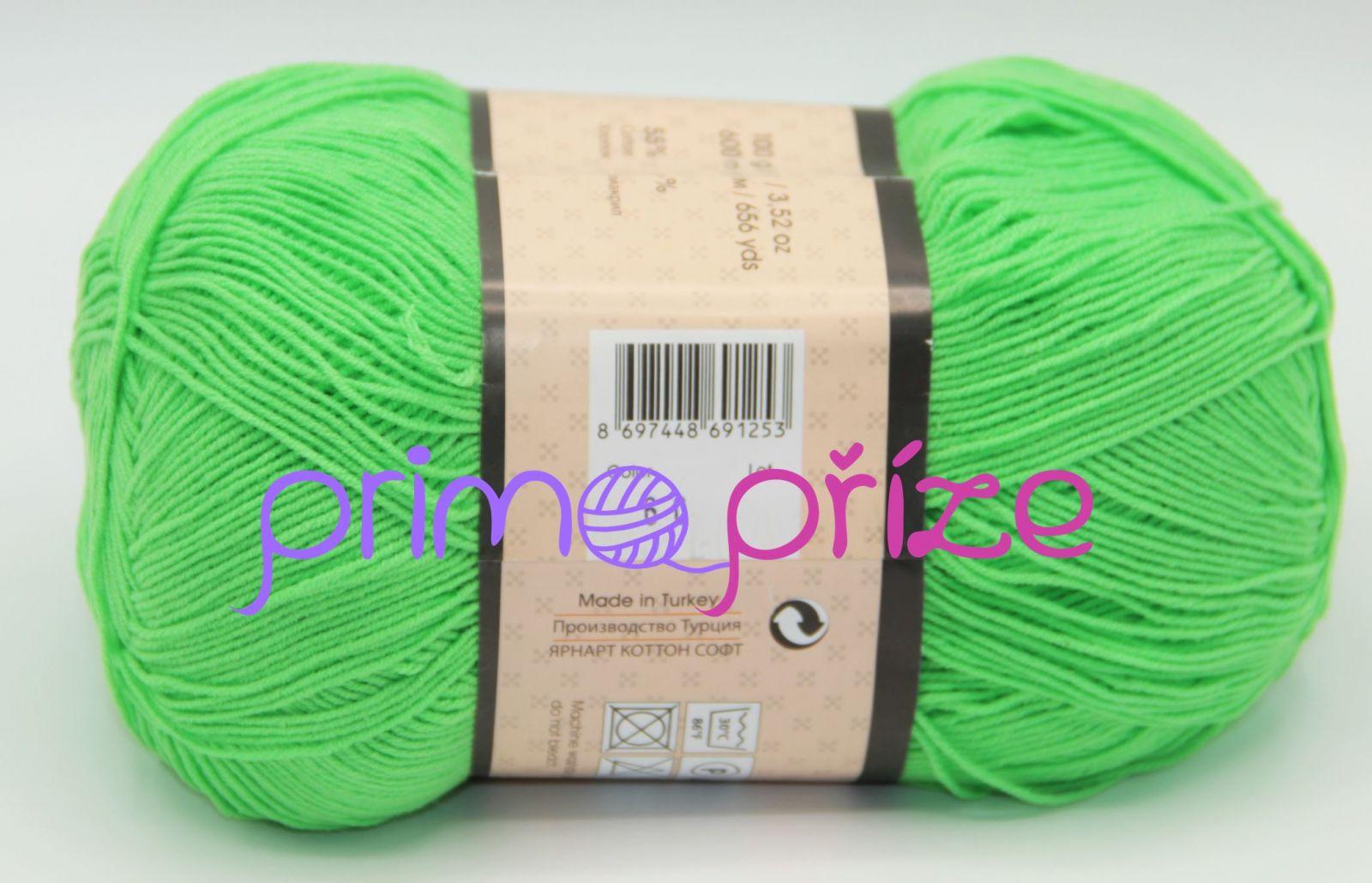 YarnArt Cotton Soft 60 neonově zelená