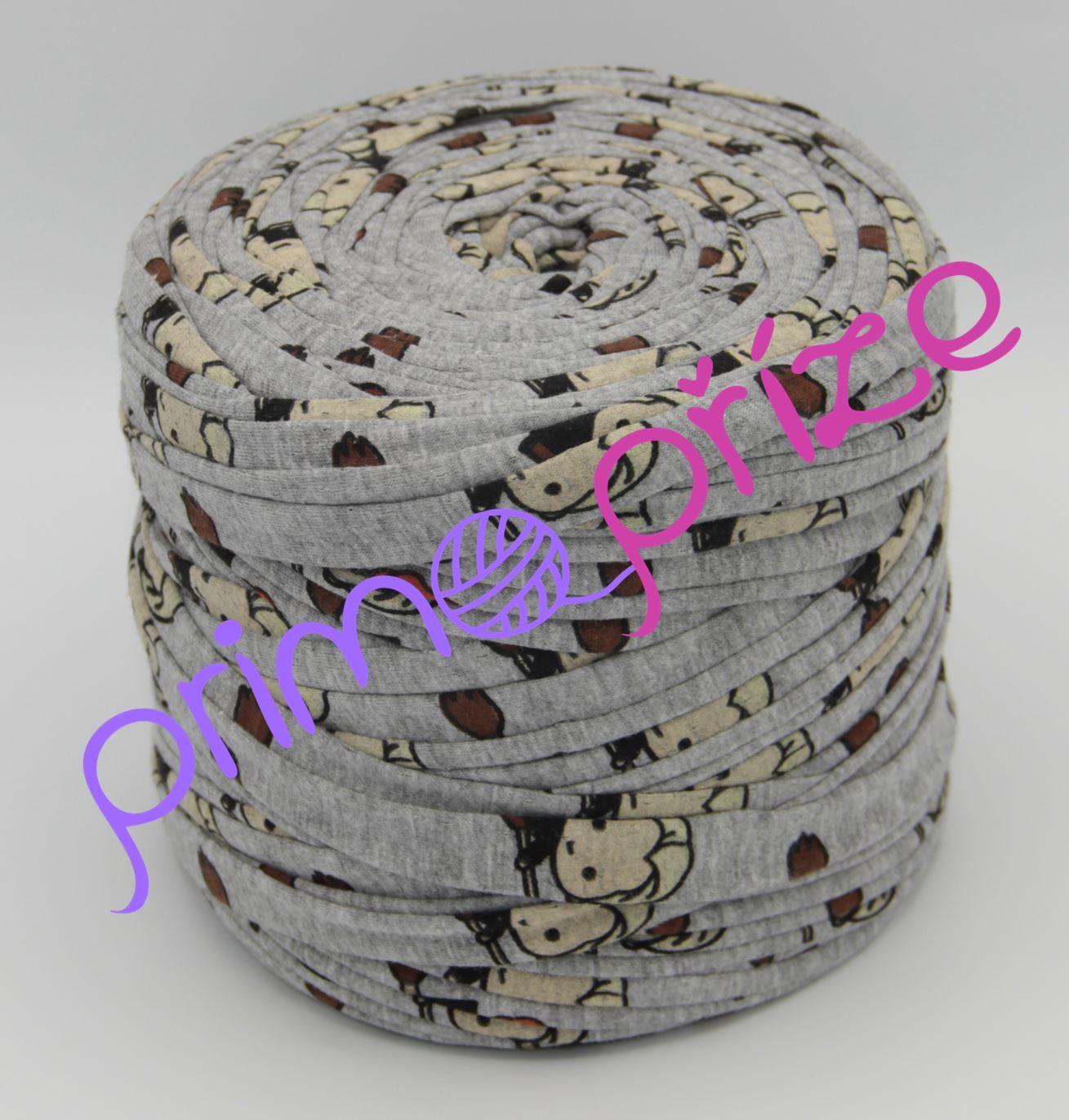 """Zahraniční textilní příze """"špagáty"""" ZTP1112410 šedá s potiskem panenek"""