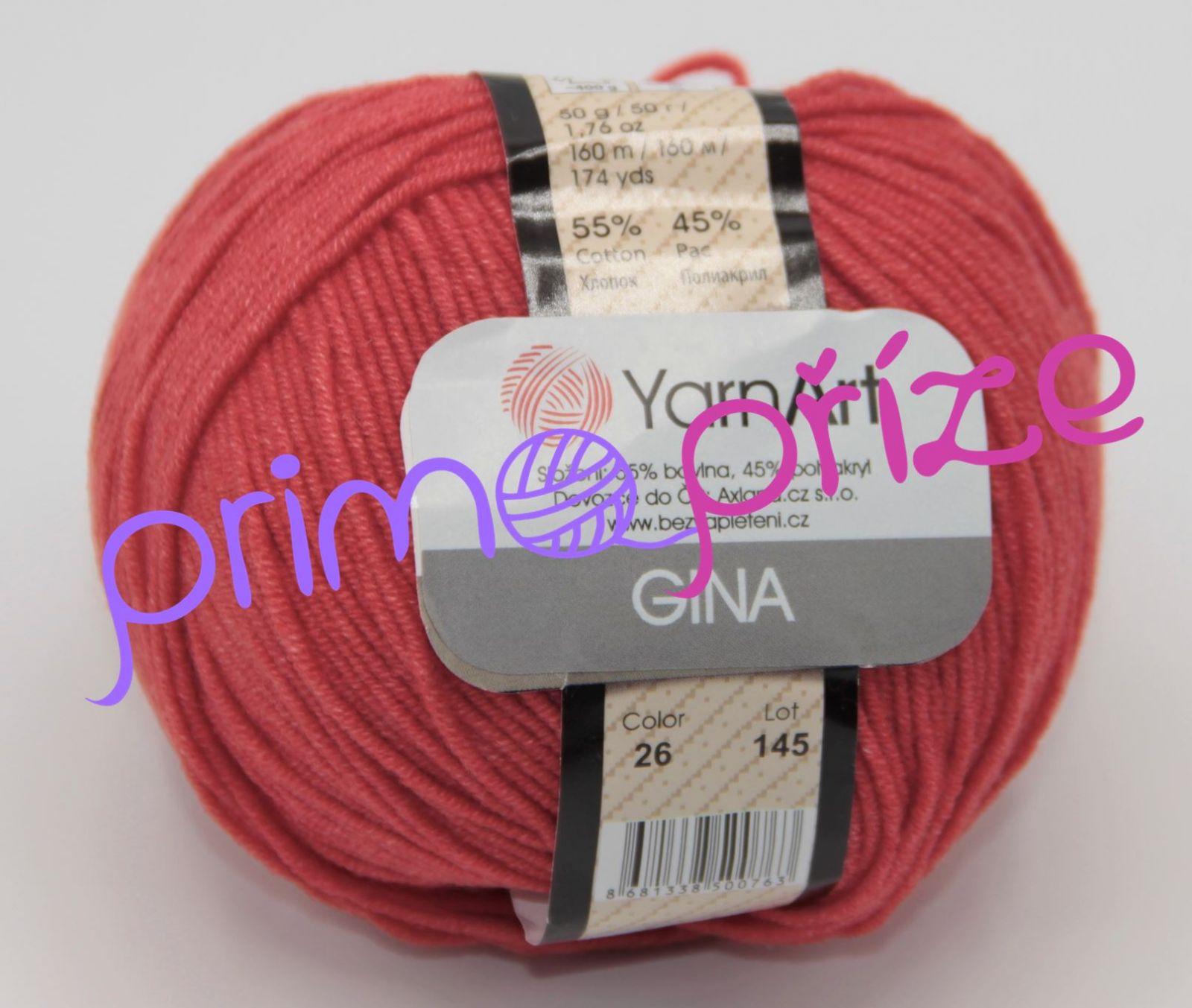 YarnArt Jeans/Gina 26 světle červená