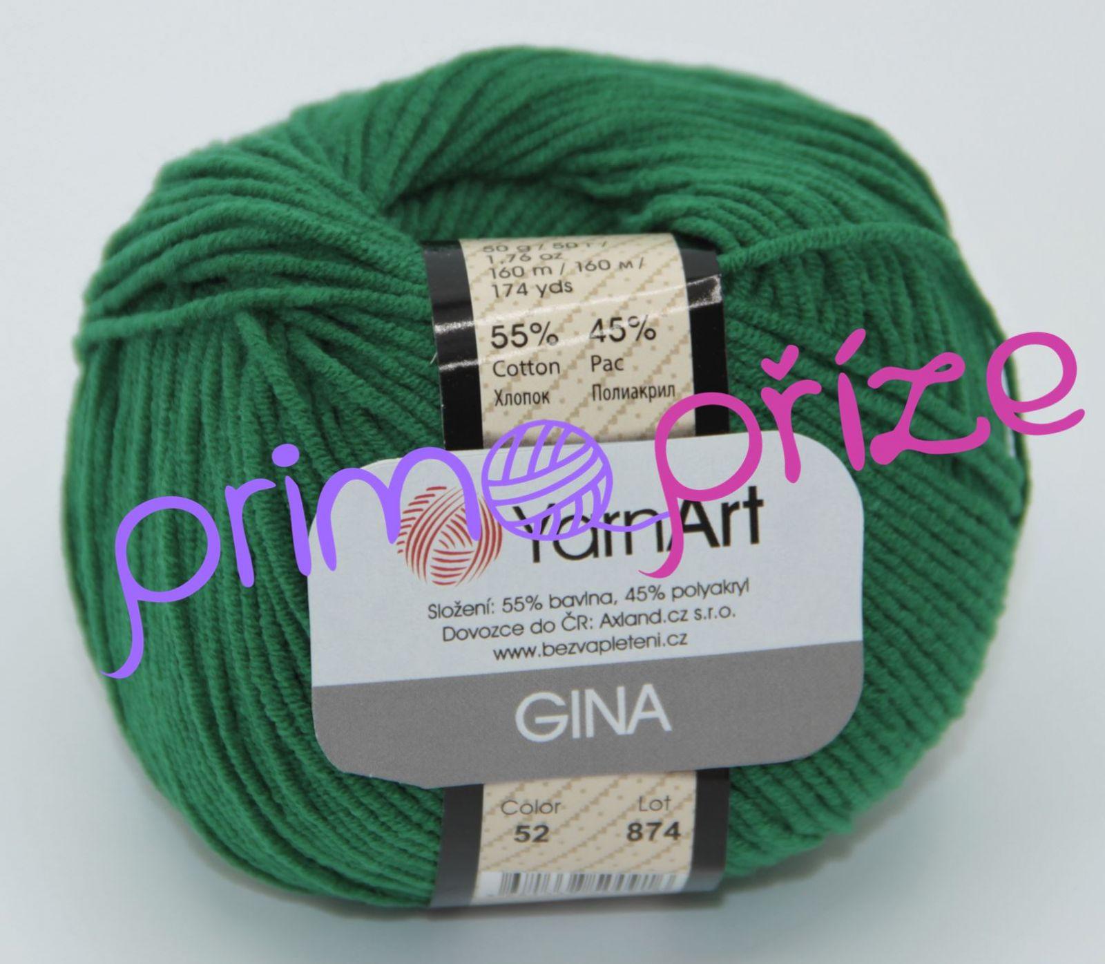 YarnArt Jeans/Gina 52 zelená
