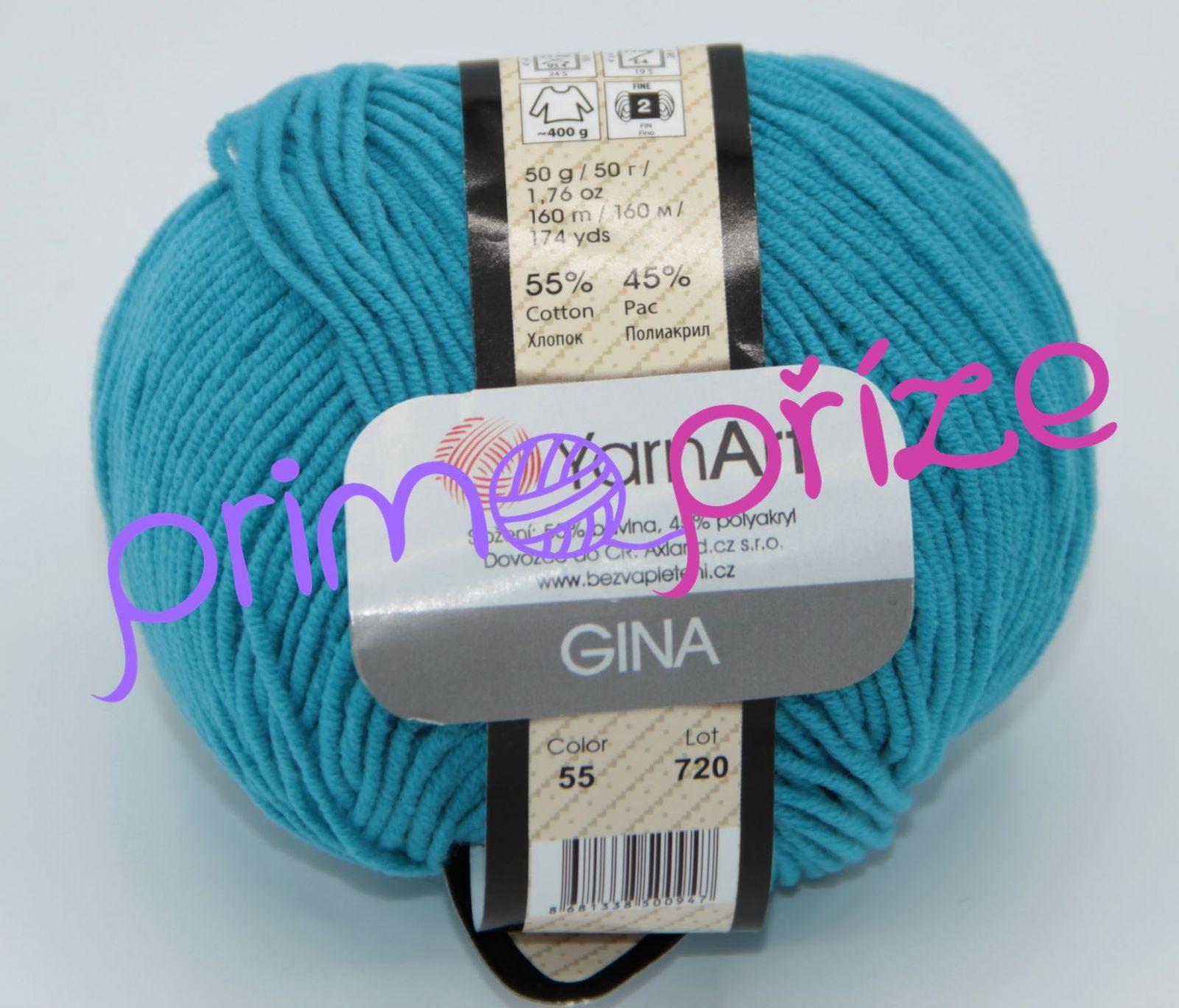 YarnArt Jeans/Gina 55 tyrkysová
