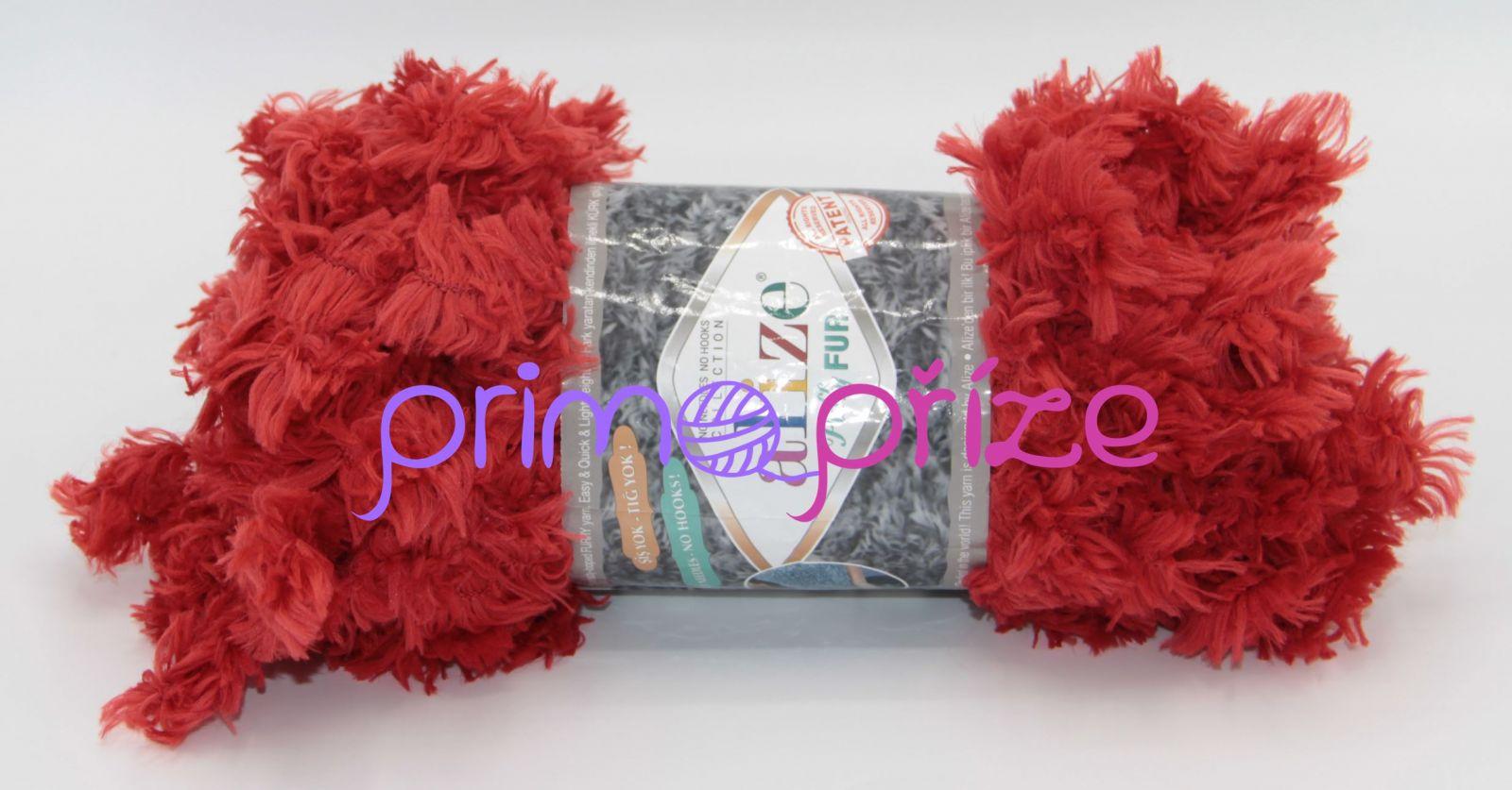 ALIZE Puffy Fur 6121 cihlově červená