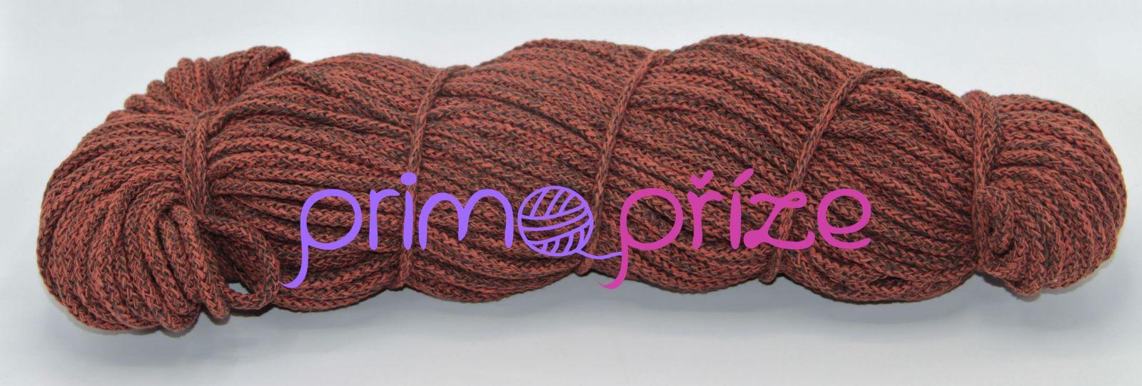 PRIMA Šňůry 5mm/100m cihlově rudá-hnědá melange
