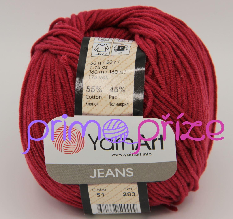YarnArt Jeans/Gina 51 tmavě červená