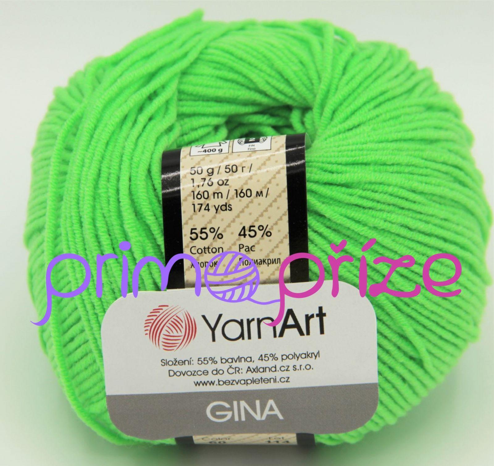 YarnArt Jeans/Gina 60 neonově zelená