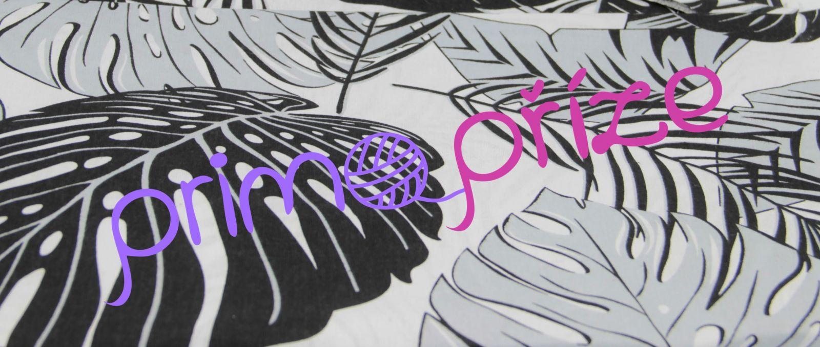 Bavlněná látka černošedé listy na bílém podkladu