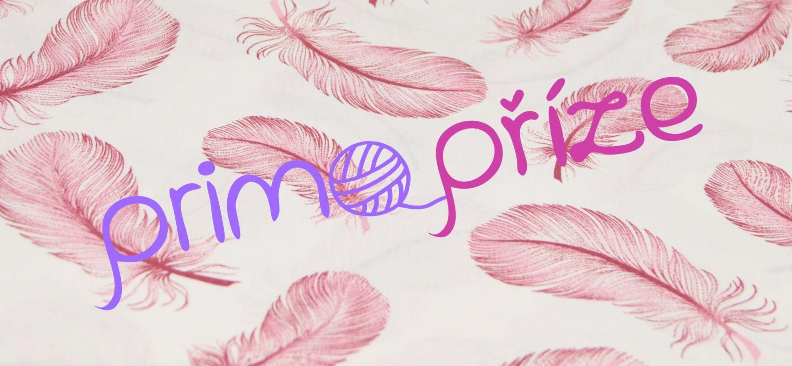 Bavlněná látka růžová pírka na bílém podkladu