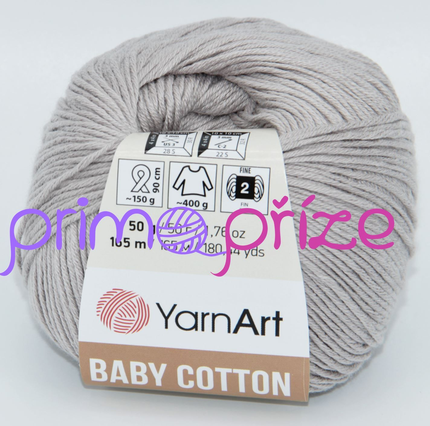 YarnArt Baby Cotton 406 světle šedá