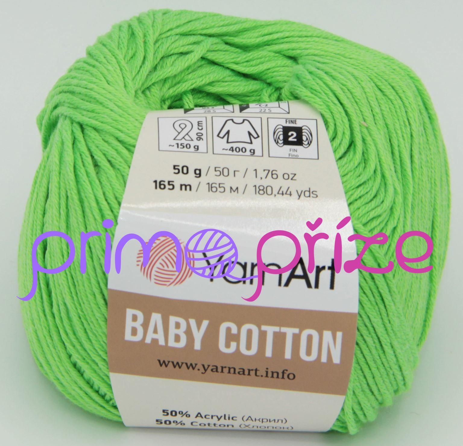 YarnArt Baby Cotton 438 jasně zelená